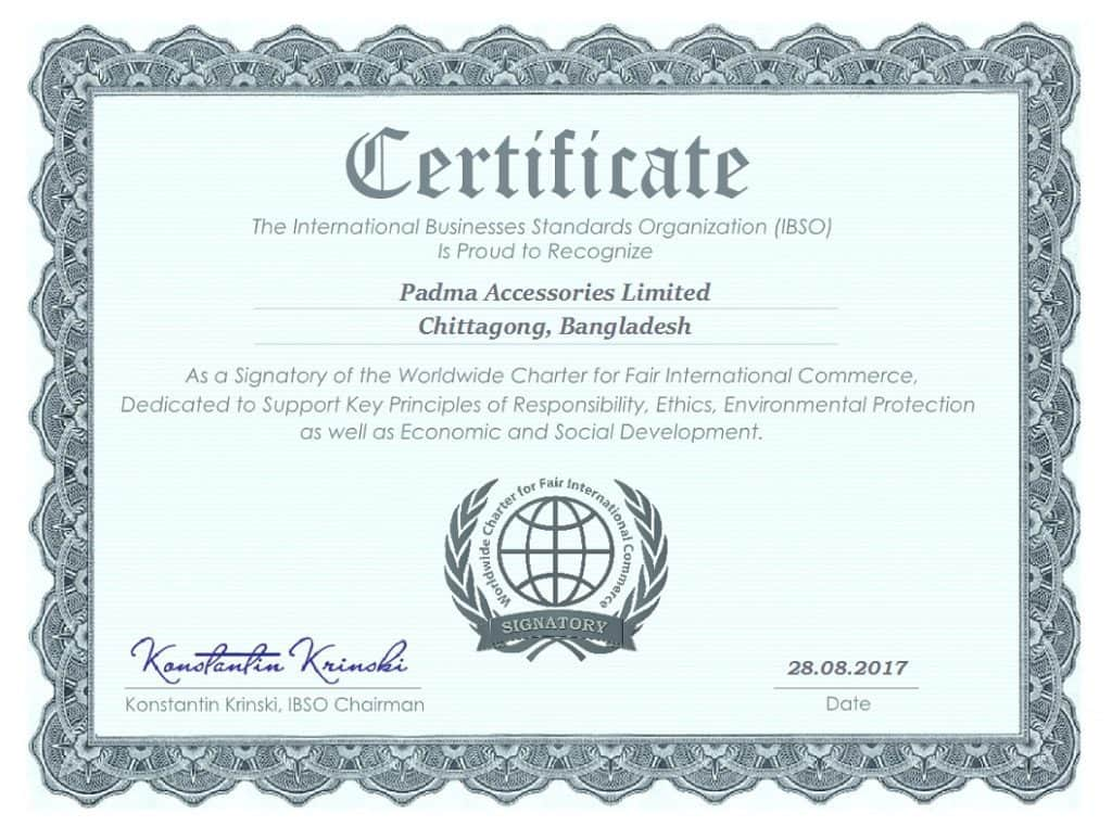 Padma Accessories Limited certificate